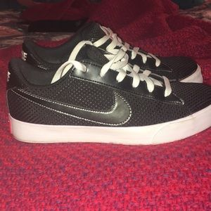 Nike Black white and Coral swoosh sneakers